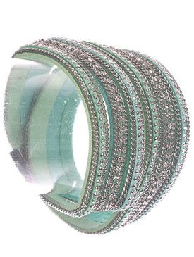 Bracelet / Three Strand / Faux Suede Band Wraparound / Metallic Stud / Chain / Rhinestone / Magnetic Closure / 15 Inch Long / 1 Inch Tall / Nickel And Lead Compliant