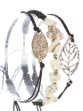 Bracelet / 3 Pc / Adjustable Cord / Hammered / Textured / Cutout Metal Leaf / Natural Stone Chip / 2 Inch Diameter / 1/2 Inch Tall / Nickel And Lead Compliant