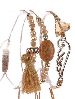 Bracelet / 3 Pc / Adjustable Cord / Cutout Metal Wing / Natural Stone / Glass Stone / Iridescent Glass Bead / Tassel Charm / 2 Inch Diameter / 1/2 Inch Tall / Nickel And Lead Compliant