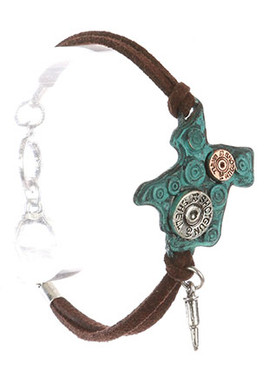 Bracelet / State Of Texas / Faux Suede / Bullet Shell / Aged Finish / Hammered / Two Tone / Bullet Charm / Double Strand / Toggle Closure / 7 Inch Long / 1 1/4 Inch Tall / Nickel And Lead Compliant