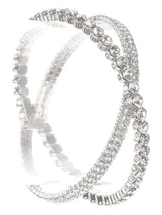 Bracelet / Crisscross Coil Wire / Rhinestone / Metal Setting / 2 1/8 Inch Diameter / 1 Inch Tall / Nickel And Lead Compliant