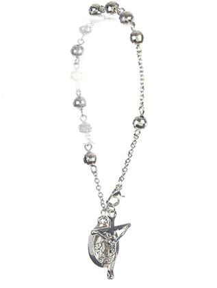 Bracelet / Saint Mary Charm / Cross Prayer Chain / Jesus On The Cross / Metallic Bead / Metal Setting / 8 Inch Long / 1 1/8 Inch Drop / Nickle And Lead Compliant