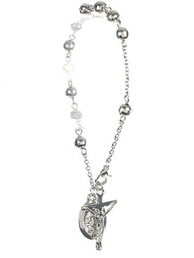 Bracelet / Saint Mary Charm / Cross Prayer Chain / Jesus On The Cross / Metallic Bead / Metal Setting / 8 Inch Long / 1 1/8 Inch Drop / Nickle And Lead Compliant