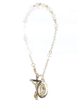 Bracelet / Saint Mary Charm / Cross Prayer Chain / Jesus On The Cross / Glass Bead / Metal Setting / 8 Inch Long / 1 1/8 Inch Drop / Nickle And Lead Compliant