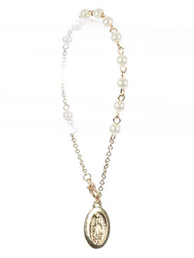 Bracelet / Saint Mary Charm / Prayer Chain / Glass Bead / Metal Setting / 7 Inch Long / 7/8 Inch Drop / Nickle And Lead Compliant