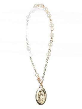 Bracelet / Saint Mary Charm / Prayer Chain / Glass Bead / Metal Setting / 7 Inch Long / 7/8 Inch Drop / Nickle And Lead Compliant