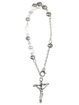 Bracelet / Cross Charm / Prayer Chain / Jesus On The Cross / Metallic Bead / Metal Setting / 8 Inch Long / 1 1/8 Inch Drop / Nickle And Lead Compliant