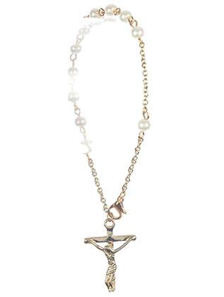 Bracelet / Cross Charm / Prayer Chain / Jesus On The Cross / Pearl / Metal Setting / 8 Inch Long / 1 1/8 Inch Drop / Nickle And Lead Compliant