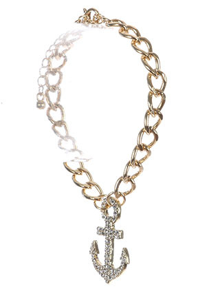Bracelet / Metal Anchor Charm / Chain / Pave Crystal Stone / Curb Chain / 7 Inch Long / 1 1/4 Inch Tall / Nickel And Lead Compliant