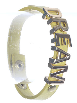 Bracelet / Metal Letter Charm / Faux Leather Band / Message / Dream / Metallic Stud / Snap Button Closure / 7 Inch Long / 1/2 Inch Tall / Nickel And Lead Compliant