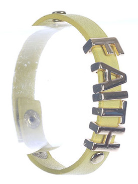 Bracelet / Metal Letter Charm / Faux Leather Band / Message / Faith / Metallic Stud / Snap Button Closure / 7 Inch Long / 1/2 Inch Tall / Nickel And Lead Compliant