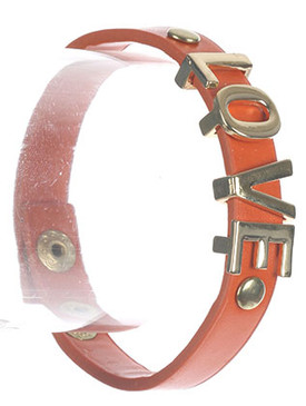 Bracelet / Metal Letter Charm / Faux Leather Band / Message / Love / Metallic Stud / Snap Button Closure / 7 Inch Long / 1/2 Inch Tall / Nickel And Lead Compliant