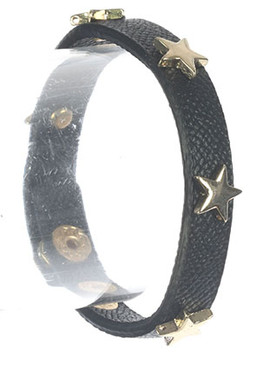 Bracelet / Metal Star Stud / Faux Leather Band / Snap Button Closure / 6 1/2 Inch Long / 3/8 Inch Tall / Nickel And Lead Compliant