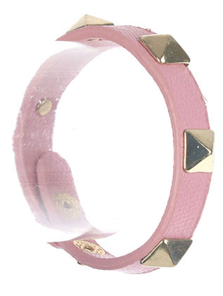 Bracelet / Metal Spike Stud / Faux Leather Band / Snap Button Closure / 6 1/2 Inch Long / 3/8 Inch Tall / Nickel And Lead Compliant