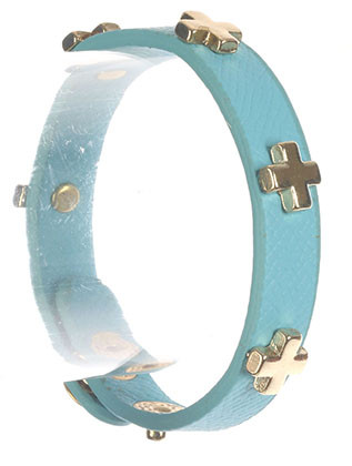 Bracelet / Metal Cross Stud / Faux Leather Band / Snap Button Closure / 6 1/2 Inch Long / 3/8 Inch Tall / Nickel And Lead Compliant