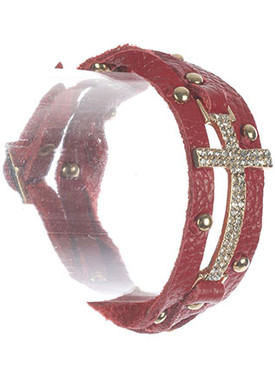 Bracelet / Metal Cross / Faux Leather Wraparound / Pave Crystal Stone / Metallic Stud / Belt Buckle Closure / 20 Inch Long / 7/8 Inch Tall / Nickel And Lead Compliant