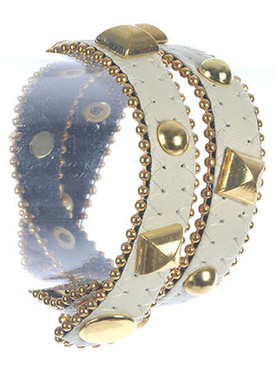 Bracelet / Metal Stud And Spike / Faux Leather Wraparound / Bead Chain / Snap Button Closure / 14 Inch Long / 5/8 Inch Tall / Nickel And Lead Compliant