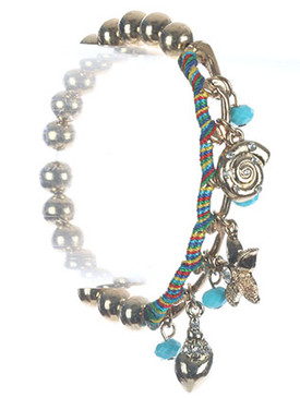 Bracelet / Sealife Charm / Metallic Bead Stretch / Metal Chain / Starfish / Snail / Lucite Bead / Color Thread / 2 1/4 Inch Diameter / 1 Inch Drop / Nickel And Lead Compliant