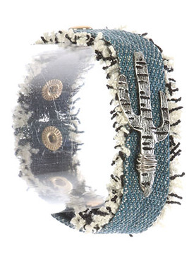 Bracelet / Cacutus Charm / Denim Fabric Band / Frayed Edge / Aged Finish Metal / Metallic Stud / Snap Button Closure / 7 Inch Long / 1 Inch Tall / Nickel And Lead Compliant