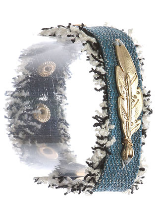 Bracelet / Feather Charm / Denim Fabric Band / Frayed Edge / Matte Finish Metal / Metallic Stud / Snap Button Closure / 7 Inch Long / 1 Inch Tall / Nickel And Lead Compliant