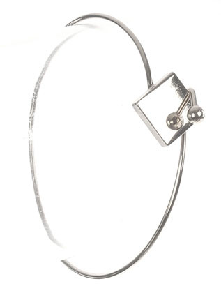 Bracelet / Metal Square / Metal Wire Bangle / Hook Closure / 2 1/4 Inch Diameter / 1/2 Inch Tall / Nickel And Lead Compliant