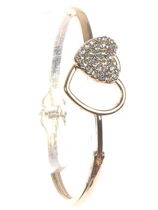 Bracelet / Pave Crystal Stone / Hinged Metal Bangle / Round / Hook Closure / 2 2/3 Inch Diameter / 3/4 Inch Tall / Nickel And Lead Compliant