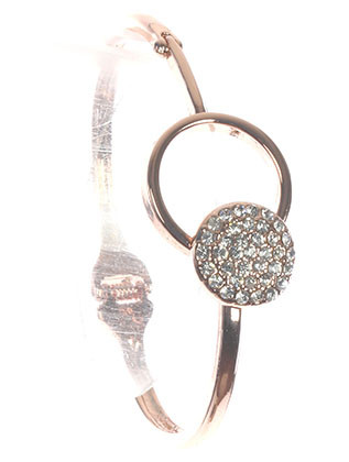 Bracelet / Pave Crystal Stone / Hinged Metal Bangle / Heart / Hook Closure / 2 2/3 Inch Diameter / 3/4 Inch Tall / Nickel And Lead Compliant