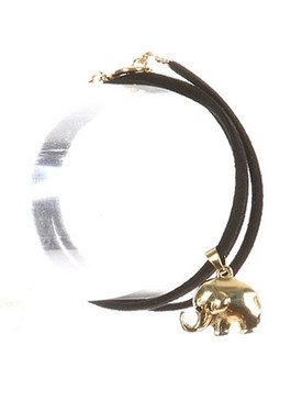 Bracelet / Metal Elephant Charm / Faux Suede Wraparound / Toggle Closure / 20 Inch Long / 3/4 Inch Drop / Nickel And Lead Compliant