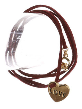 Bracelet / Metal Heart Charm / Faux Suede Wraparound / Message / Love / Toggle Closure / 32 Inch Long / 3/4 Inch Drop / Nickel And Lead Compliant