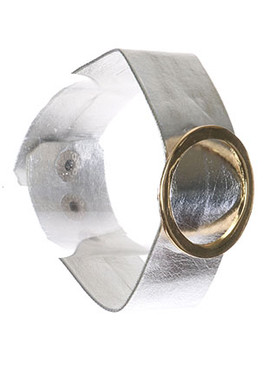 Bracelet / Metal Ring Buckle / Metallic Band / Two Tone / 6 1/2 Inch Long / 1 3/8 Inch Tall / Nickel And Lead Compliant