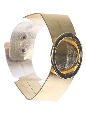 Bracelet / Metal Ring Buckle / Metallic Band / 6 1/2 Inch Long / 1 3/8 Inch Tall / Nickel And Lead Compliant