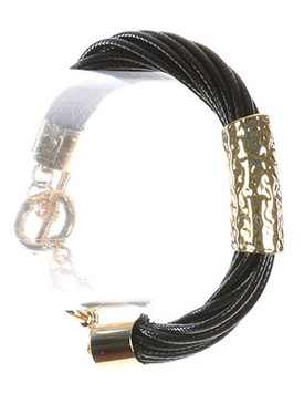 Bracelet / Hammered Metal Barrel / Twisted Multi Cord / Toggle Closure / 7 Inch Long / 3/8 Inch Tall / Nickel And Lead Compliant