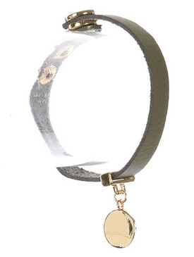 Bracelet / Metal Coin Charm / Faux Leather Band / Snap Button Closure / 6 1/2 Inch Long / Nickel And Lead Compliant