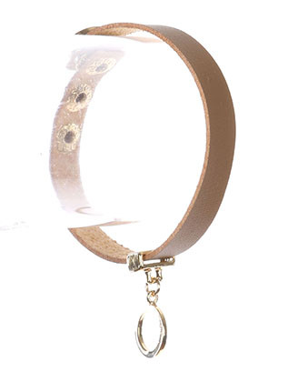 Bracelet / Metal Ring Charm / Faux Leather Band / Snap Button Closure / 6 1/2 Inch Long / Nickel And Lead Compliant