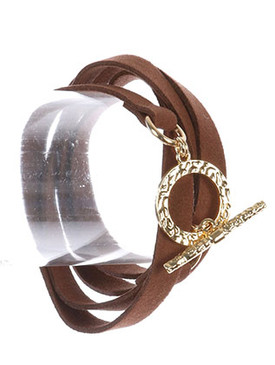 Bracelet / Hammered Metal Ring / Faux Suede Wraparound / Toggle Closure / 32 Inch Long / Nickel And Lead Compliant