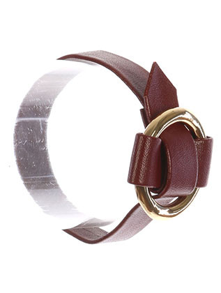 Bracelet / Metal Ring Buckle / Faux Leather Adjustable / 7 1/2 Inch Long / 1 3/8 Inch Tall / Nickel And Lead Compliant