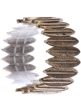 Bracelet / Aged Finish Metal / Feather Stretch / Textured / 2 1/4 Inch Diameter / 1 1/3 Inch Tall / Nickel And Lead Compliant