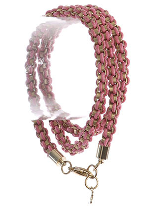 Bracelet / Box Chain / Woven Cord Wraparound / Matte Finish Metal / 22 Inch Long / Nickel And Lead Compliant