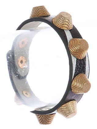 Bracelet / Metallic Spike Stud / Faux Leather Band / Chunky Textured Spike / Snap Button Closure / 7 Inch Long / 2/3 Inch Tall / Nickel And Lead Compliant