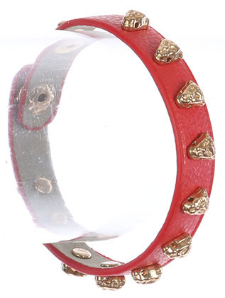 Bracelet / Leopard Head Metal Stud / Faux Leather Band / Snap Button Closure / 6 1/2 Inch Long / 3/8 Inch Tall / Nickel And Lead Compliant