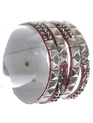 Bracelet / Metallic Spike Stud / Faux Leather Band / Aged Finish / Cut Up / Snap Button Closure / 7 Inch Long / 1 1/2 Inch Tall / Nickel And Lead Compliant