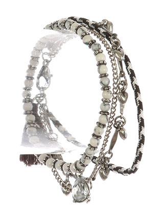 Bracelet / Mini Heart Charm / 2Pc Multi Strand / Woven Cord / Stretch / Natural Stone Bead / Metallic Bead / Tassel Charm / Aged Finish / Chain / 2 1/4 Inch Diameter / Nickel And Lead Compliant