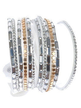 Bracelet / Multi Strand / Faux Suede Band Wraparound / Glass Bead / Metal Stud / Snap Button Closure / Adjustable / 14 1/2 Inch Long / 3/4 Inch Tall / Nickel And Lead Compliant