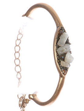 Bracelet / Shimmer Finish Stone Cluster / Matte Finish Metal / Lucite / Chain / 2 1/4 Inch Diameter / 3/8 Inch Tall / Nickel And Lead Compliant