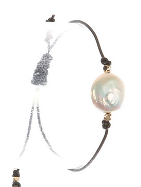 Bracelet / Pearl Charm / Adjustable Rubber Cord / Knotted / Metallic Bead / 2 Inch Diameter / 3/8 Inch Tall / Nickel And Lead Compliant