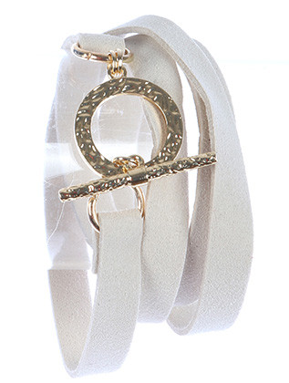Bracelet / Faux Suede / Wraparound / Hammered Metal / Toggle Closure / 30 Inch Long / Nickel And Lead Compliant