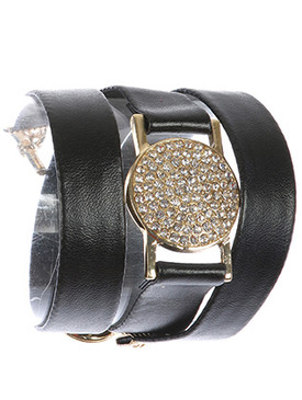 Bracelet / Metal Disc / Faux Leather Wraparound / Pave Crystal Stone / Toggle Closure / 20 Inch Long / Nickel And Lead Compliant