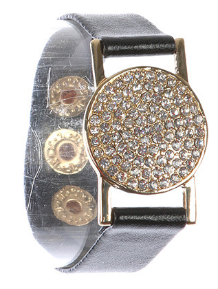 Bracelet / Metal Disc / Faux Leather Band / Pave Crystal Stone / Snap Button Closure / 6 Inch Long / 1 Inch Tall / Nickel And Lead Compliant