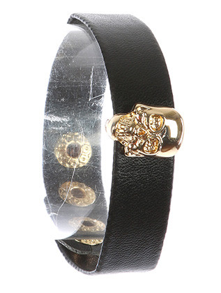 Bracelet / Metal Skull Charm / Faux Leather Band / Snap Button Closure / 6 1/2 Inch Long / 1 Inch Tall / Nickel And Lead Compliant