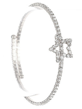 Bracelet / Star Shape Rhinestone / Coil Wire / 2 1/8 Inch Diameter / 1/2 Inch Tall / Nickel And Lead Compliant